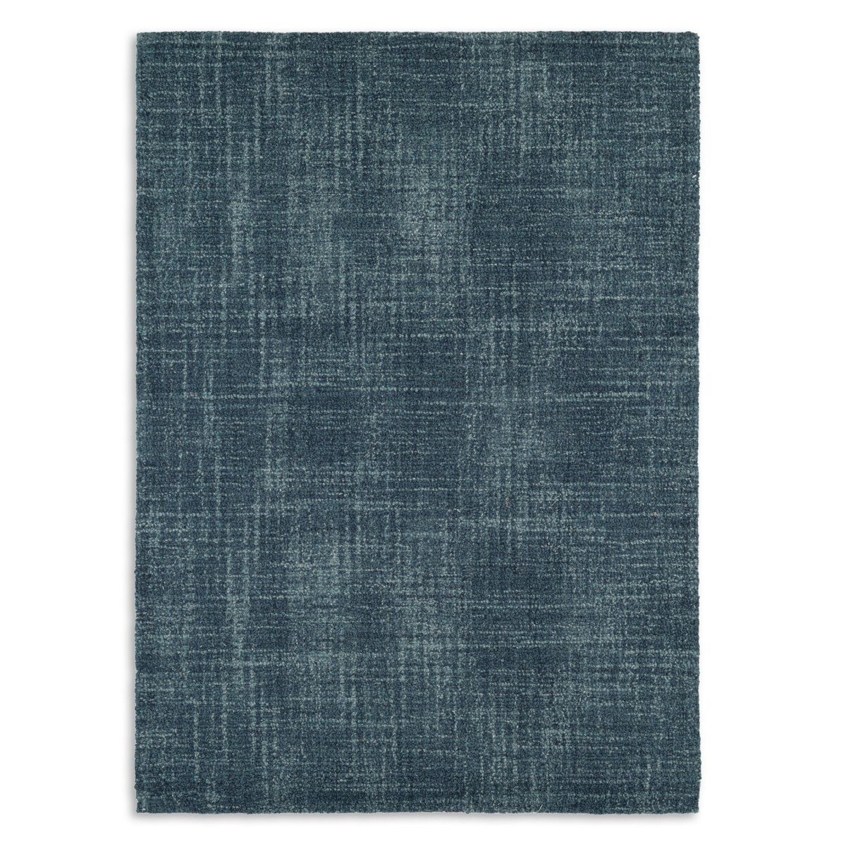 Crosshatch Wool Micro Hooked Rug - Denim