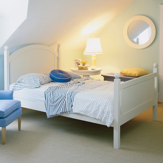Island Bed By Maine Cottage Where Color Lives