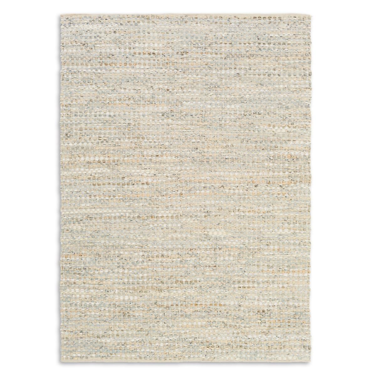 Leather Rag Rug - Yellow/Gray