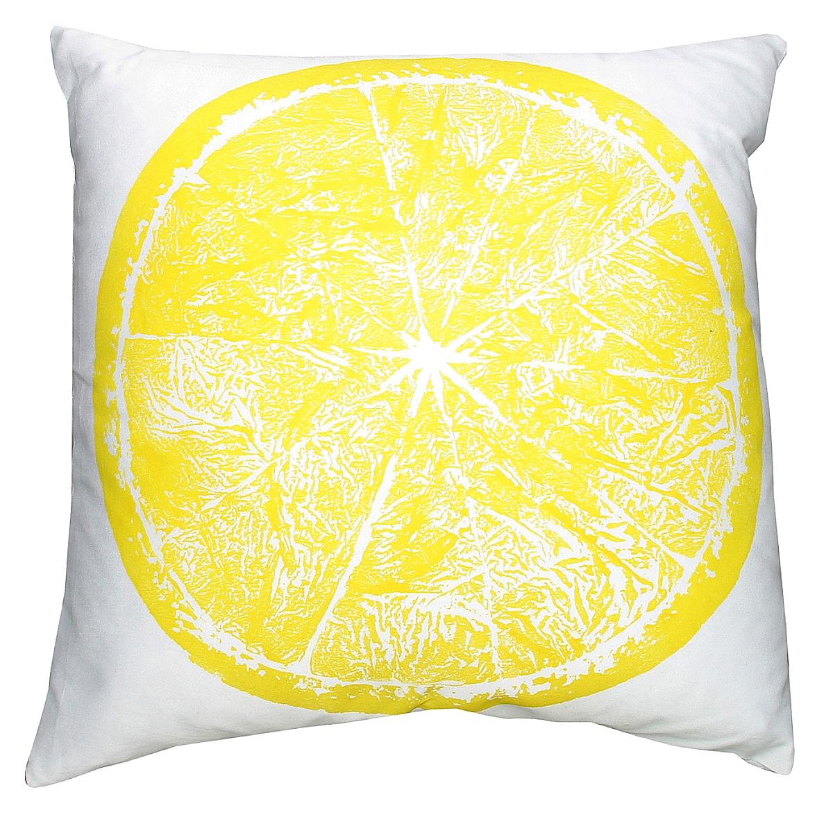 """20"""" x 20"""" - Lemon Pillow on White Linen"""