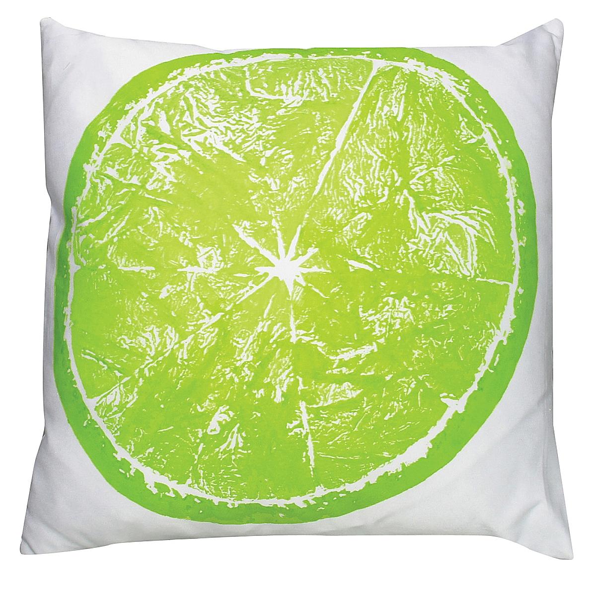 "20"" x 20"" - Lime Pillow on White Linen"