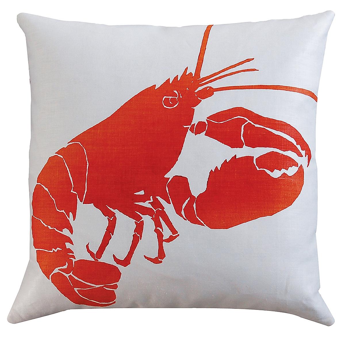 "20"" x 20"" - Lobster Pillow: Rhubarb on White Linen"