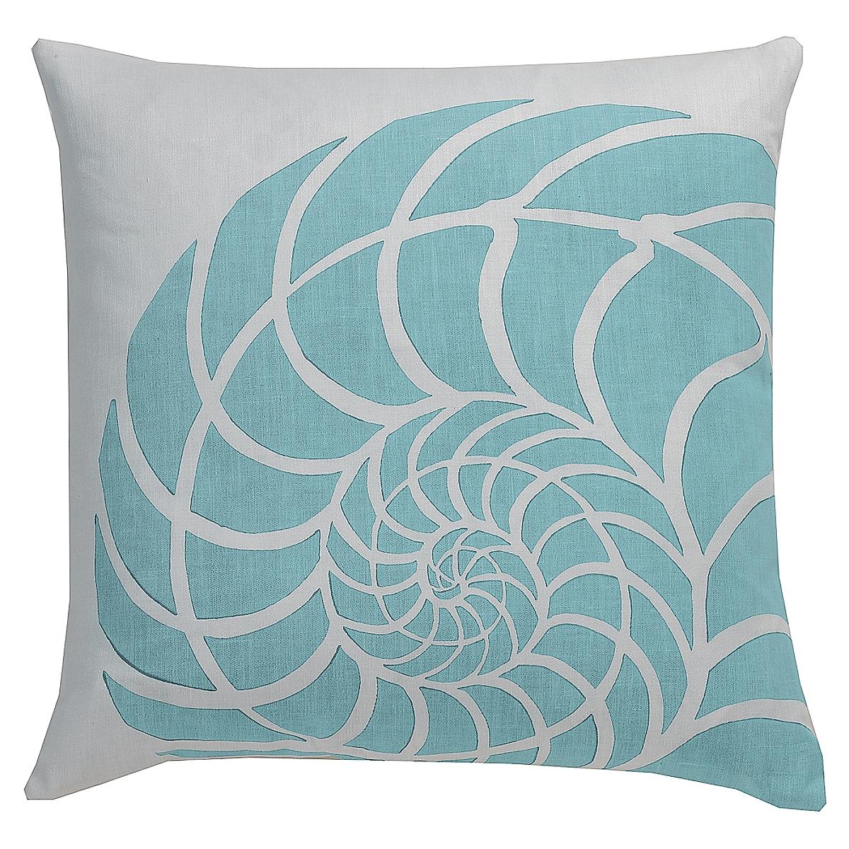 """20"""" x 20"""" - Nautilus Pillow: Wave on White Linen"""