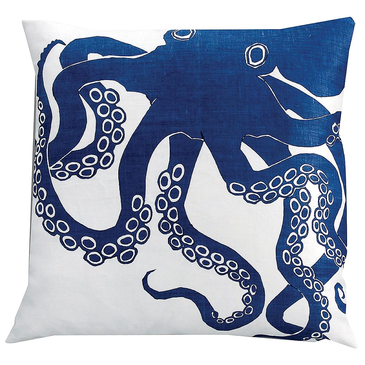 "20"" x 20"" - Octopus Pillow: Marine on White Linen"