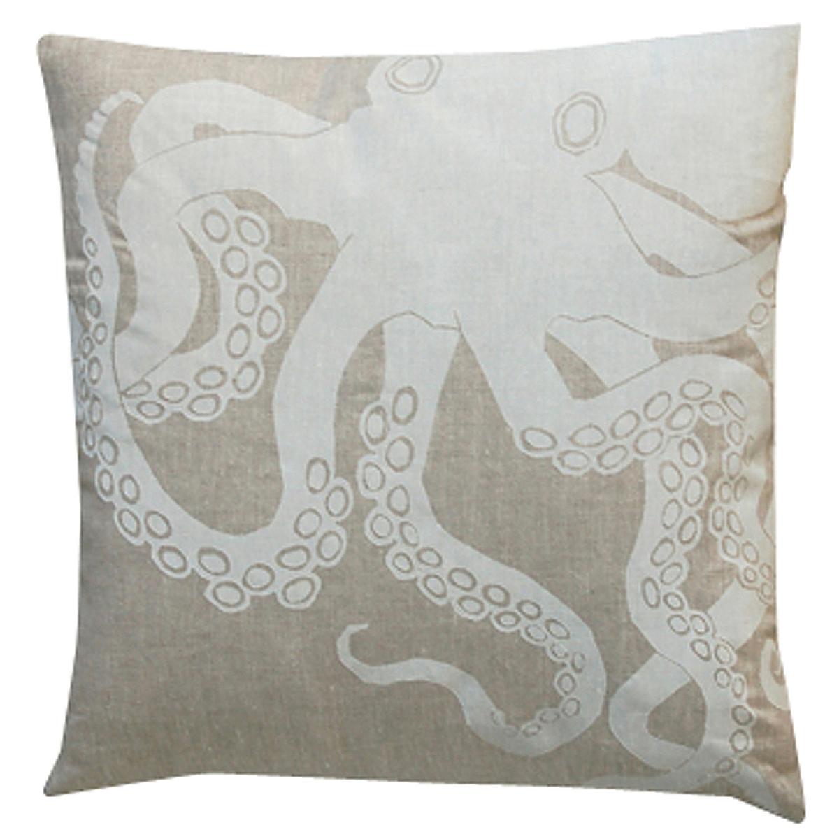 "20"" x 20"" - Octopus Pillow: White on Natural Linen"