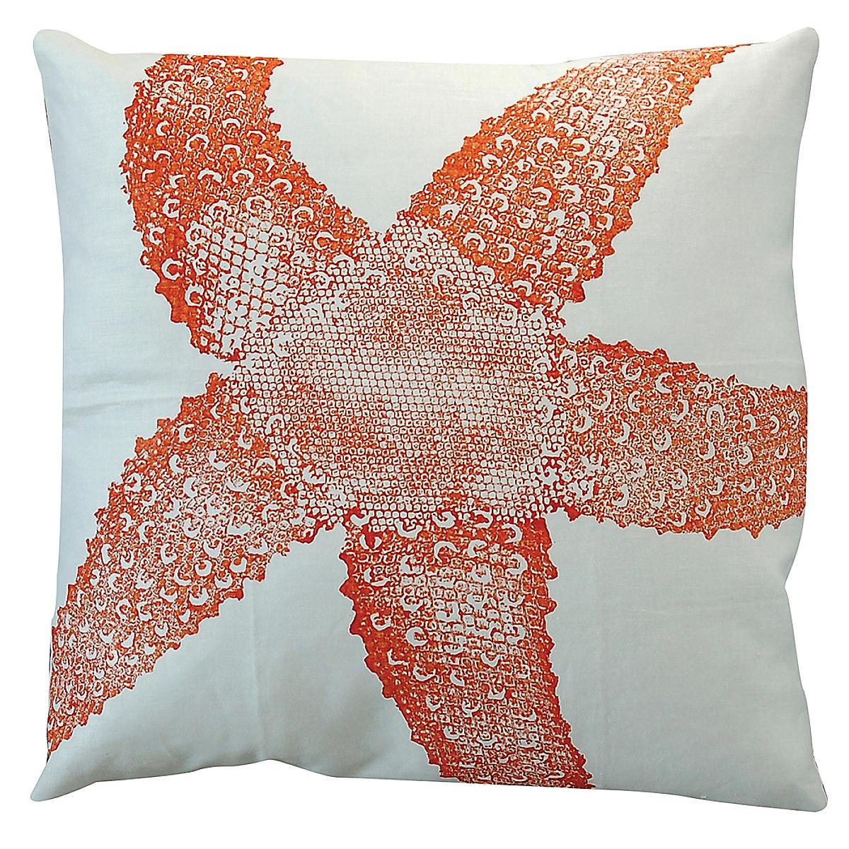 "20"" x 20"" - Starfish Pillow: Rhubarb on White Linen"