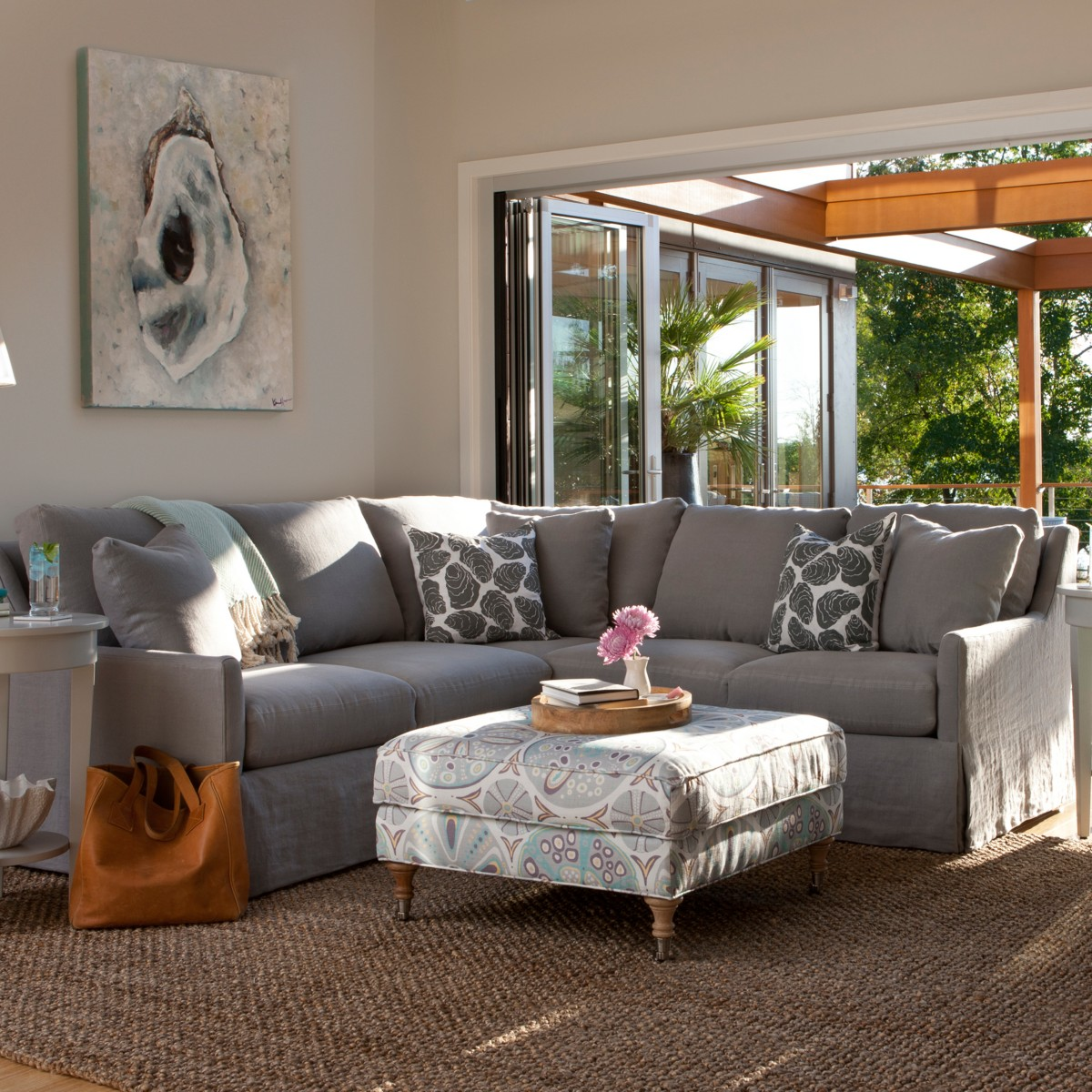 Vera Loveseat Sectional Maine Cottage  ~ One Arm Sofa With Chaise