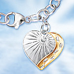 Footprints In The Sand Heart-shaped Charm Diamond Bracelet