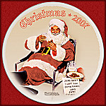Norman Rockwell 2007 Annual Christmas Collector Plate: Santa Eating Milk And Cookies