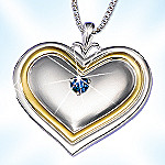 Mother's Greatest Treasure Heart Shaped Sapphire Pendant