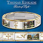 Thomas Kinkade Faith's Inspiration Italian Charm Bracelet: Religious Jewelry Gift