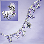 Twilight Enchantment Fantasy Art Charm Bracelet With Swarovski Crystals