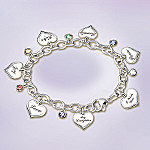 Heartfelt Wishes Sterling Silver-Plated Heart Shaped Charm Bracelet Gift For Daughter