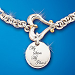 My Sister My Friend Solid Sterling Silver Engraved Sister Charm Bracelet