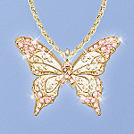 Butterfly Of Hope Pendant Necklace Breast Cancer Awareness Jewelry