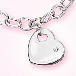 My Granddaughter, My Love Sterling Silver Heart Shaped Charm Bracelet