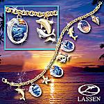 Oceans Jeweled Splendor Charm Bracelet: Dolphin-Lover Charm Bracelet Jewelry Gift