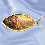 Greg Olsen Biblical Art Icthus Fish-Shaped Wall Hanging Decor: I Am The Way Collector Plate