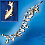 Silver And Gold Jeweled Dancers Dolphin Charm Bracelet With Swarovski(R) Crystals