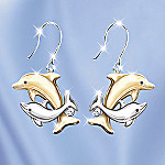 Jeweled Dancers Dolphin Earrings: Dolphin Lover Gift