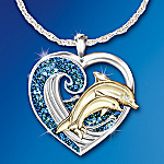 Jeweled Dancer Sterling Silver and Diamond Pendant Necklace: Unique Dolphin Art Jewelry