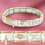 Sisters Forever Italian Charm Bracelet: Unique Sister Jewelry Gift