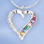 Rainbow Of Sapphires & Diamonds Sterling Silver Heart Shaped Pendant Necklace Gift For Her