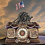 USMC Time of Pride Collector's Clock: Marine Corps History Tribute Home Decor