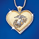 USMC Always In My Heart Pendant: Marine Corps Pendant Jewelry
