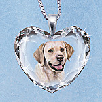 Yellow Lab Heart-Shaped Crystal Pendant Necklace