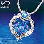 Christian Riese Lassen Moonlit Kiss Dolphin Art Pendant Necklace