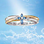 Religious Diamond Cross Women's Ring: The Trinity Sapphire
