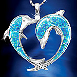 Created Opal And Diamond Dolphin Art Pendant Necklace: Endless Sea Of Love