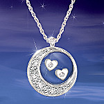 Sterling Silver And Diamond Pendant Necklace: I Love You To The Moon And Back