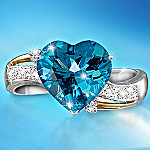 Heart Embrace Blue Topaz & Diamond Ring