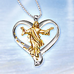 Footprints Of Faith Diamond Heart Shaped Pendant