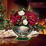 Thomas Kinkade Winters Blooms: Cobblestone Christmas Silk Flower Bouquet Arrangement