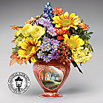 Thomas Kinkade Autumn's Jewels: Blessings Of Autumn Porcelain Vase With Silk Flower Bouquet