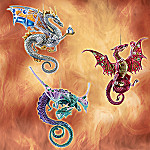 Dragons Of The Crystal Cave Ornament Set One