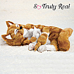 Lifelike Orange Tabby Cat And Kittens Plush Curled Contentment