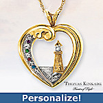 Thomas Kinkade Beacon Of Hope Personalized Lighthouse Pendant Necklace