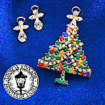 Thomas Kinkade 2005 Christmas Pin and Earrings Set