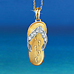 Footprints In The Sand Flip Flop Religious Crystal Pendant Necklace
