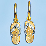 Footprints In The Sand Flip Flop Earrings With Swarovski Crystals