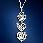 Heart's Desire Sterling Silver Heart-Shaped Cubic Zirconia Pendant Necklace
