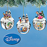Disney Mickey And Minnie Mouse Christmas Sleigh Bells Ornament Collection: Set One
