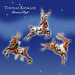 Thomas Kinkade Holiday Reindeer Christmas Tree Ornaments: Set One