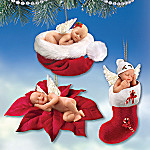 Santa's Little Angels Sleeping Baby Angels Christmas Tree Ornaments: Set One