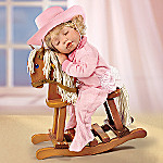 Ridin' To Dreamland Collectible Little Girl Doll With Wooden Rocking Horse