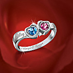 Perfect Love Personalized Crystal Birthstone Heart Shaped Diamond Ring Gift For Her